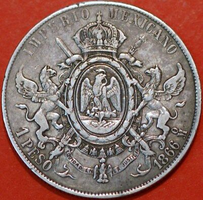 Mexico EMPIRE OF MAXIMILIAN Peso 1866 KM# 388.1
