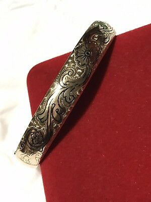 ANTIQUE VICTORIAN MH & CO 12ct GOLD SHELL ~ ENAMEL HINGED BANGLE GORGEOUS!