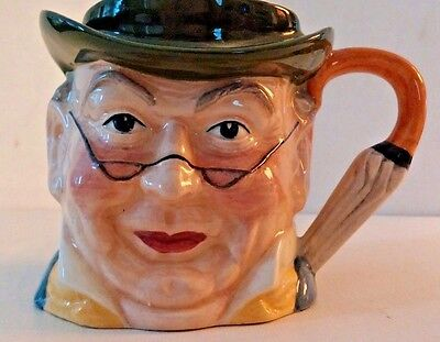 Antique Hand Painted Staffordshire England Character Mr Pickwick Toby Jug Mug