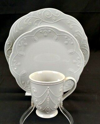 LENOX French Perle in Gray Fine China, 3 Piece Set, New Never Used