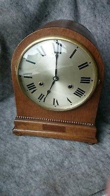 H.A.C 1920/30s Oak Case Chiming Mantel Clock For Restoration