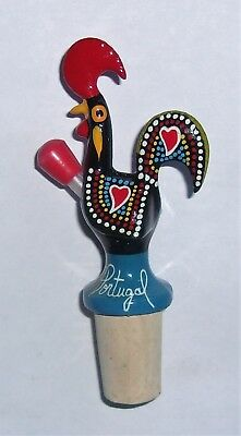 Ceramic Portuguese Good Luck Rooster Hand Painted Wine Stopper Portugal