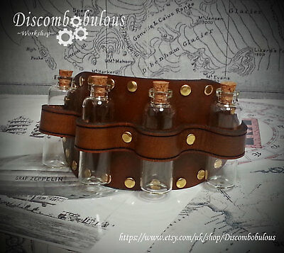 Steampunk Leather Sleeve Garter with bottles