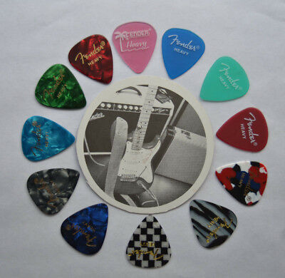 Fender Heavy Guitar Picks Assorted Palm Tree Pink Custom Made
