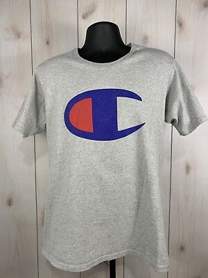 c8d70e076 RARE VINTAGE CHAMPION Big Crest Logo Retro T Tee Shirt 90s Gray Hip ...