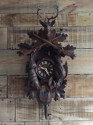 Beautiful 1970's Extra Large Vintage Huntsman Cuckoo Clock Germany Hand Carved