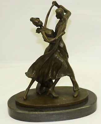 100% Solid Bronze Gorgeous Museum Quality Tango Dancers Bronze Sculpture Statue