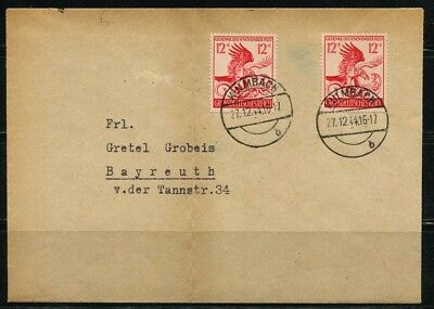.German Cover 1944 Kulmbach cancel.Stamps