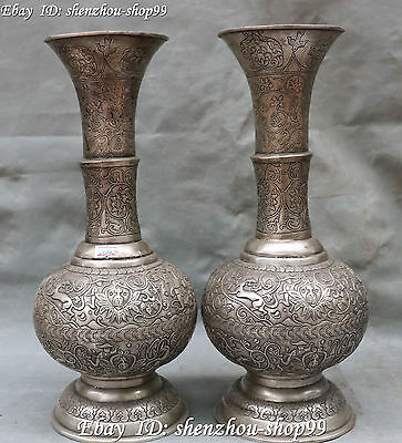 "14"" Old Chinese Silver Rare Pure Handwork Peasant Beast Bottle Pot Vase Pair"