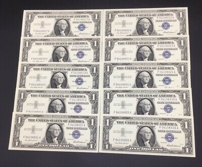 Consecutive Set Of Ten (10) 1957 Silver Certificates Gem Uncirculated