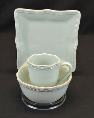 LENOX French Perle Bead Square Fine China in Ice Blue, 3pc Set, New Never Used