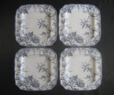"""222 FIFTH China ADELAIDE BLUE & WHITE 4- SQUARE DINNER PLATES 11"""" Birds, Florals"""