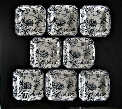 """222 FIFTH China ADELAIDE BLUE & WHITE 8- SQUARE SALAD PLATES 8.5"""" Birds, Florals"""