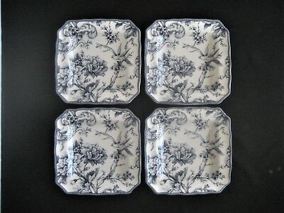 """222 FIFTH China ADELAIDE BLUE & WHITE 4- SQUARE SALAD PLATES 8.5"""" Birds, Florals"""