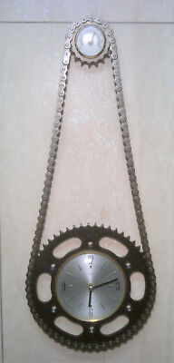 Upcycled DID Chain & Sprockets Wall Clock & Thermometer Steampunk Man Cave