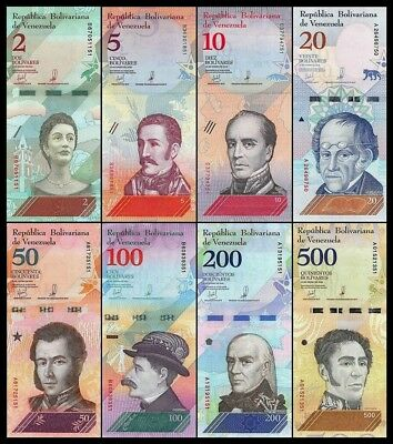 B-D-M Venezuela Full Set 2 5 10 20 50 100 200 500 Bolívares 2018 Pick New UNC