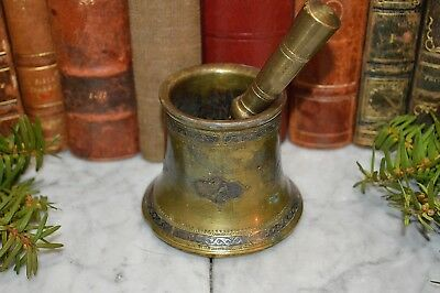 Antique French Apothecary Mortar & Pestle Etched Brass