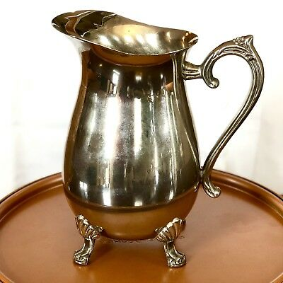 International Silver Company Vintage SILVER-PLATE - WATER PITCHER + Ice Catcher