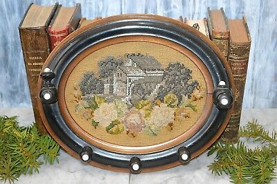 Antique German Beaded Needlepoint Cottage House Floral Carved Wood Hat Coat Rack