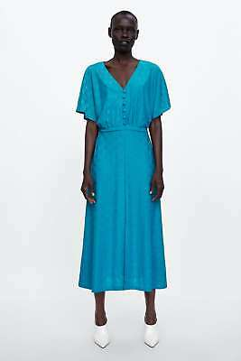 fd524706 NWT ZARA JACQUARD DRESS WITH BUTTONS DARK TURQUOISE A-line V Neck ...