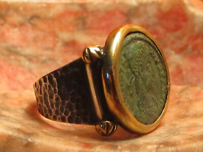 Authentic Ancient Roman Constantine Coin Green Patina  Mens Ring!