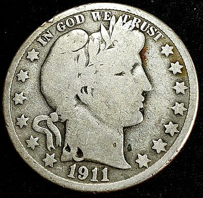 1911-S Barber Half Dollar 50 Cent US 90% Silver Coin*
