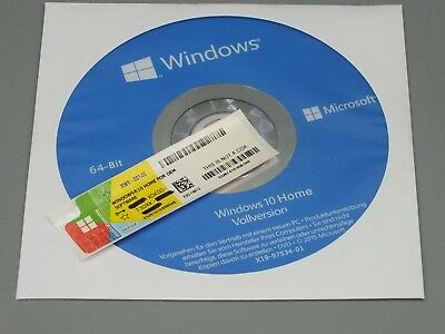 MS Windows 10 Home 64Bit CD Vollversion + Win 10 Home Product Key COA OEM Lizenz