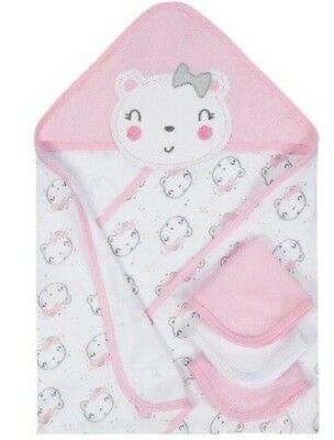 GERBER WONDER NATION Baby Girl/'s 4-Piece Bath Set Pink Lambs One Size  NWT
