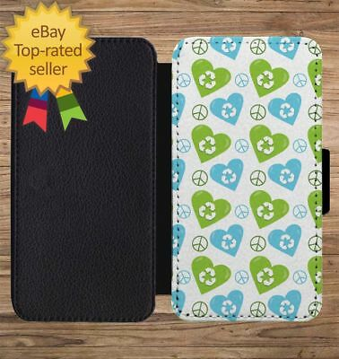 Earth Day Recycle Heart Peace Wallet Phone Case for iPhone 5 6 7 8 X XS Max XR