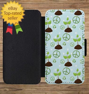 Earth Day Recycle Peace Plant Wallet Phone Case for iPhone 5 6 7 8 X XS Max XR