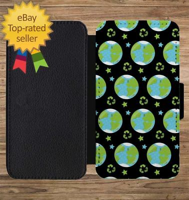 Earth Day World Print Pattern Wallet Phone Case for iPhone 5 6 7 8 X XS Max XR