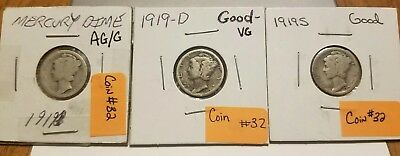 1919 Mercury Silver Dimes S, D, P lot of 3 AG to VG (coin 32)
