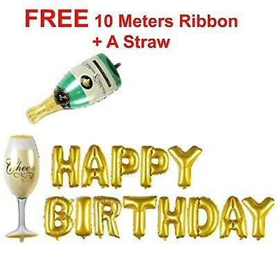 "40"" Champagne Bottle Glass Foil Balloons HAPPY BIRTHDAY FOIL BALOONS Ribbons"