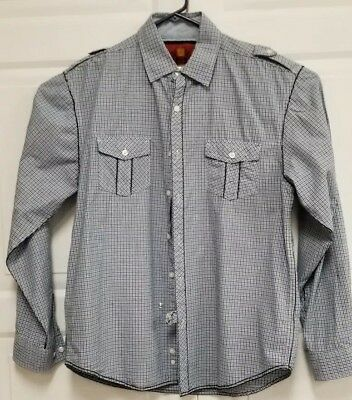 76138807 Drill Clothing Co. Men's Large Long Sleeve Button Up Shirt Small Check