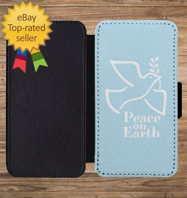 Peace On Earth Dove Christmas Wallet Phone Case for iPhone 5 6 7 8 X XS Max XR