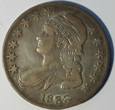 1833 Capped Bust Half Dollar, Nicely Circulated, Classic, Problem Free, Rare!