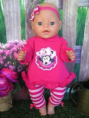 """Dolls clothes  for 17"""" Baby Born  doll~MINNIE MOUSE PINK TOP~STRIPE LEGGINGS SET"""