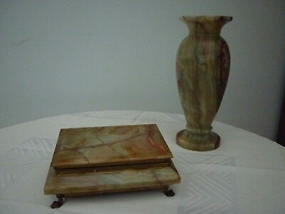 Vintage Marble Like Onyx Vase and Jewellery Box Set - Greens & Browns with gilt