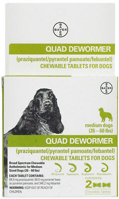 Bayer Quad Dewormer Chewables for Dogs 2 ct (medium dogs 26-60 lbs)