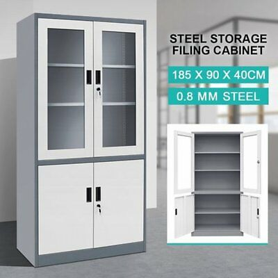 NEW Lockable Large Filing Cabinet Steel Storage Cupboard w/ 2 Transparent Doors
