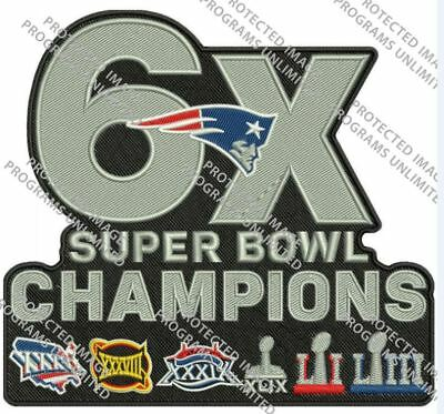 Super Bowl 53 Liii Patriots Champions Patch 6X Superbowl Champ Nfl Jersey Style