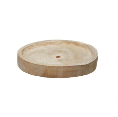 Rustic Country Natural Wooden Tray Round Natural Wood (29cm x 20cms x 4cmH)
