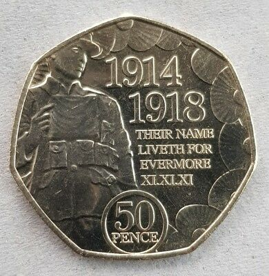 🇮🇲2018 ISLE OF MAN 50 PENCE FIRST WORLD WAR REMEMBRANCE POPPY 50p🇮🇲