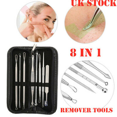 8x Blackhead Whitehead Pimple Spot Comedone Extractor Remover Popper Clean Tool