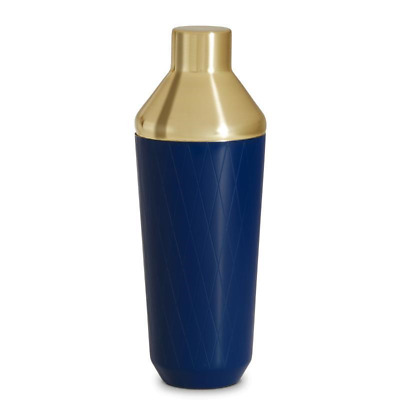 Cocktail Shaker Drink Mixer Maker Accessory Blue Brushed Gold Bar Gift Party