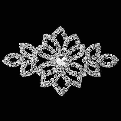 Diamond Crystal Silver Sew On Motif for Party Dress Formal Applique Patch B138