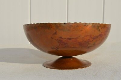 Unusual Antique Roycroft Hand Hammered Copper Bowl Footed Design Base