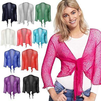 Fine Knit Tie Front Bolero Cropped Ladies Shrug Top Cardigan 3//4 Sleeve One Size