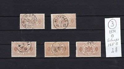 Sweden  1874  Used five stamps 3 ore  III.Low Quality . Large Catalog.See scan.