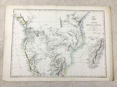 Antique Map South Central Africa Madagascar Old Hand Coloured 19th Century